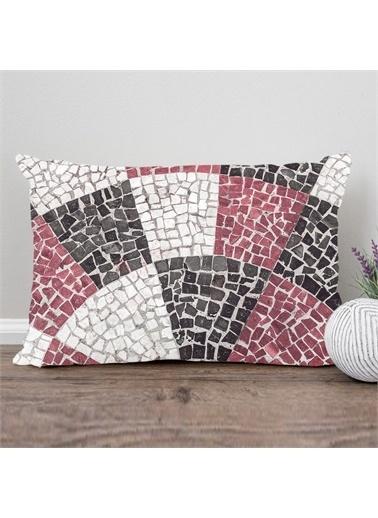 Else Halı Mürdüm Siyah Mermer Mozaik Desenli Dikdörtgen Kırlent Kılıfı 35X55Cm Renkli